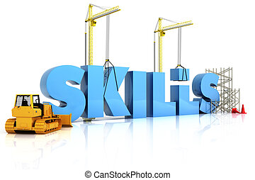 Building skills concept, SKILLS word, representing development in sports ,recreation , or work place.