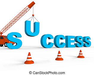 Building Success Indicates Winning Ideas 3d Rendering