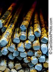 pile of oxidizing construction rebar