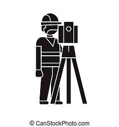 Building surveyor black vector concept icon. Building...