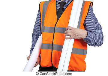 Building Surveyor in orange visibility vest carrying construction plans