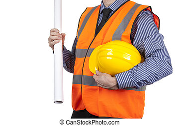 Building Surveyor in orange visibility vest carrying yellow hard hat