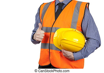 Building Surveyor in orange visibility vest giving the thumbs up
