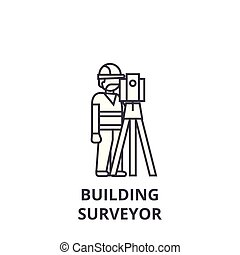 building surveyor vector line icon, sign, illustration on...