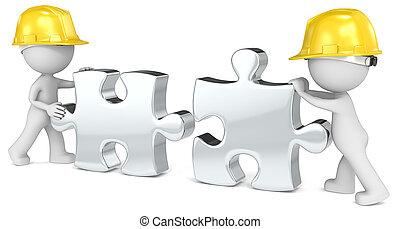 Building team. - Dude the builder x 2. Putting puzzle pieces...