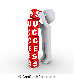 Building the success blocks - 3d person putting the last...