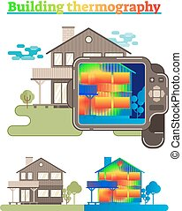 Building thermography illustration - Illustrated house...