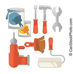Building tools colorful vector set isolated on white -...