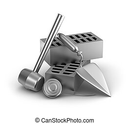 Building tools: hammer, tape measure, trowel and bricks