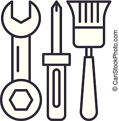 Building tools line icon concept. Building tools vector linear illustration, symbol, sign