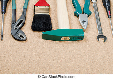The set building tools on a corkboard
