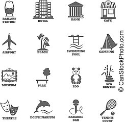 Building tourism icons set of railway station hotel bank cafe isolated vector illustration