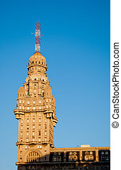 Building tower with antenna