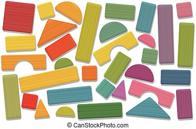 Building Toy Blocks Colored Loosely Arranged - Building toy...