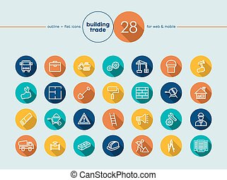 Building trade flat icons set - Building trade and...