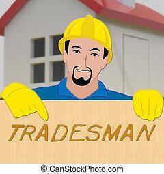 Building Tradesman Showing Home Improvement 3d Illustration