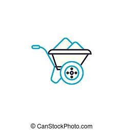 Building trolley vector thin line stroke icon. Building trolley outline illustration, linear sign, symbol concept.