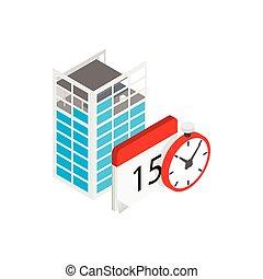 Building under construction, calendar, clock icon