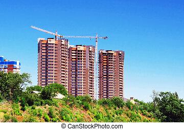 Building under construction. Office building.