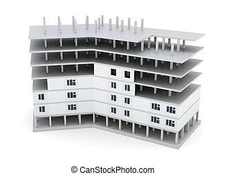 Building under construction on white background. 3d render image
