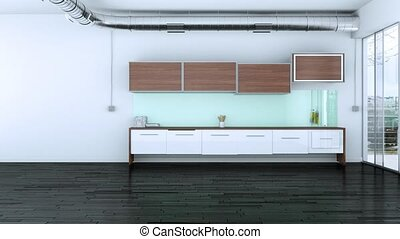 Building Up Modern Kitchen Interior Design 3d