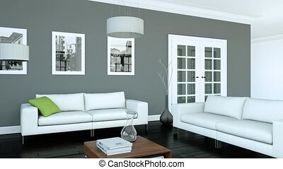 Building Up Modern Living Room Interior Design 3d