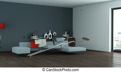 Building Up Modern Living Room Interior Design 3d Animation