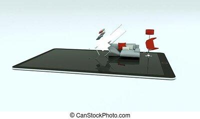 Building Up Modern Living Room on tablet 3d Animation