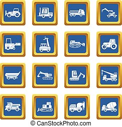 Building vehicles icons set blue