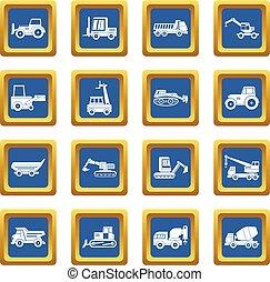 Building vehicles icons set blue