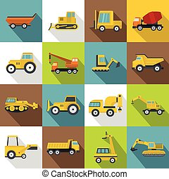 Building vehicles icons set, flat style