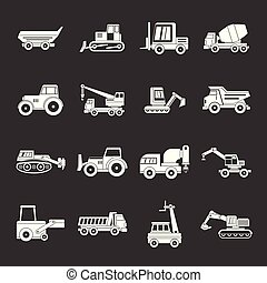 Building vehicles icons set grey vector