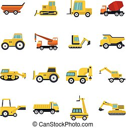 Building vehicles icons set in flat style
