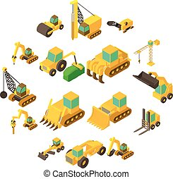 Building vehicles icons set, isometric style