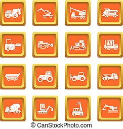 Building vehicles icons set orange