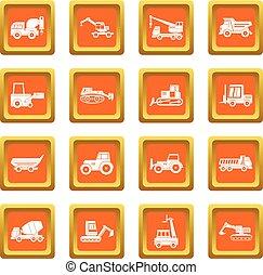 Building vehicles icons set orange