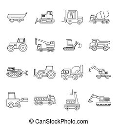 Building vehicles icons set, outline style