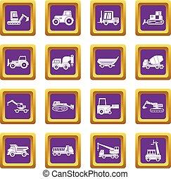 Building vehicles icons set purple