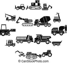 Building vehicles icons set, simple style