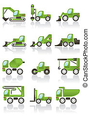 Building vehicles icons set