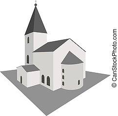 Building white church in perspective