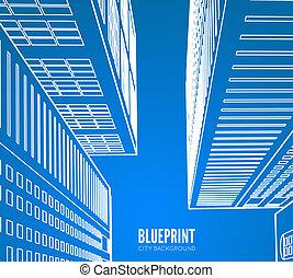 Building wireframe. 3d render city.