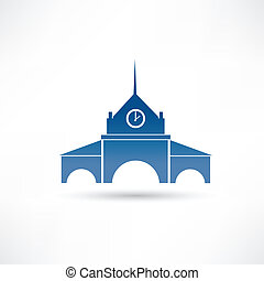 building with a clock icon