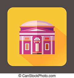 Building with a round roof icon, flat style - icon in flat ...