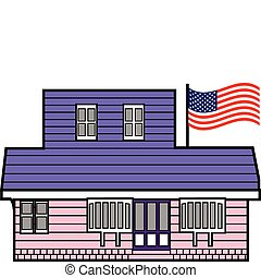 Building with American flag on pole