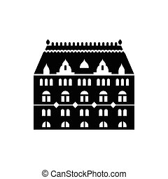 Building with arched windows icon in simple style on a white...