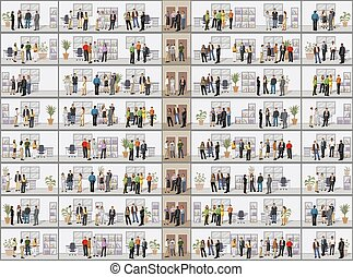 business people in offices - Building with business people ...