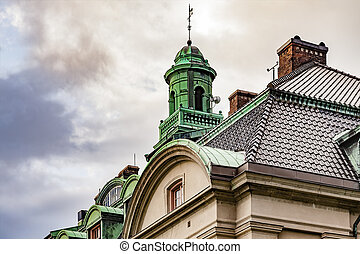 Building with copper roof