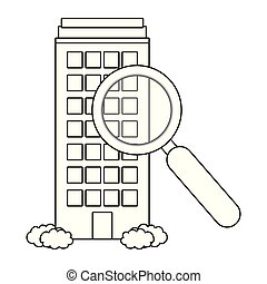 building with magnifying glass