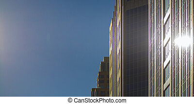 Building with reflection of sun in Salt Lake City